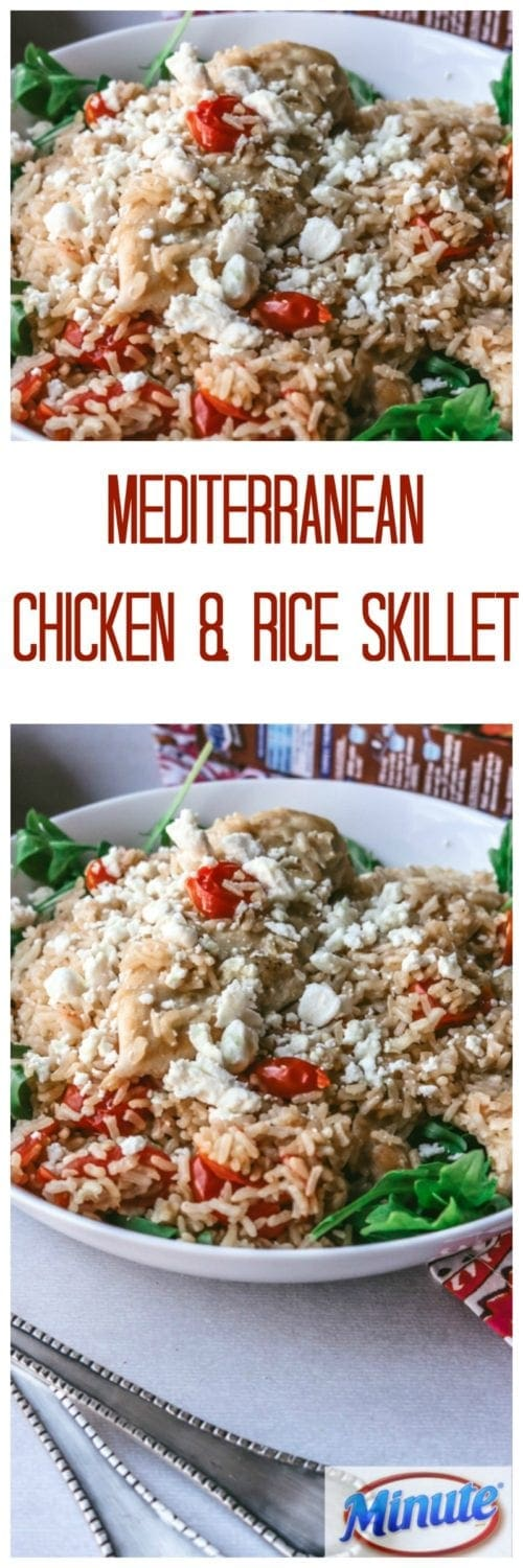 Mediterranean Chicken and Rice Skillet: Thanks to Minute® Rice, you can create an elegant, one pot chicken wonder. This skillet is brimming with flavor from garlic, white wine, fresh thyme, arugula, tomatoes, and feta cheese.