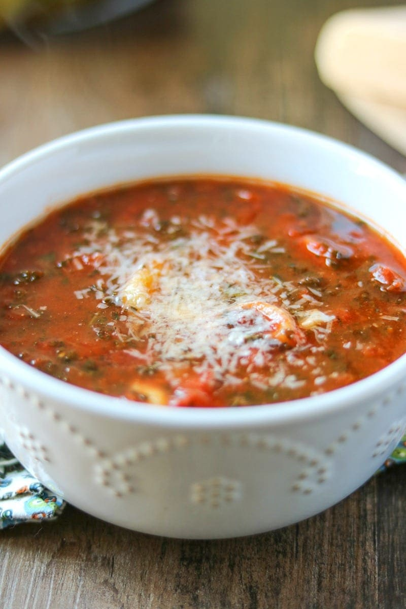 Kale, Tortellini, and rich tomatoe sauce, come together to create a hearty, meatless soup.