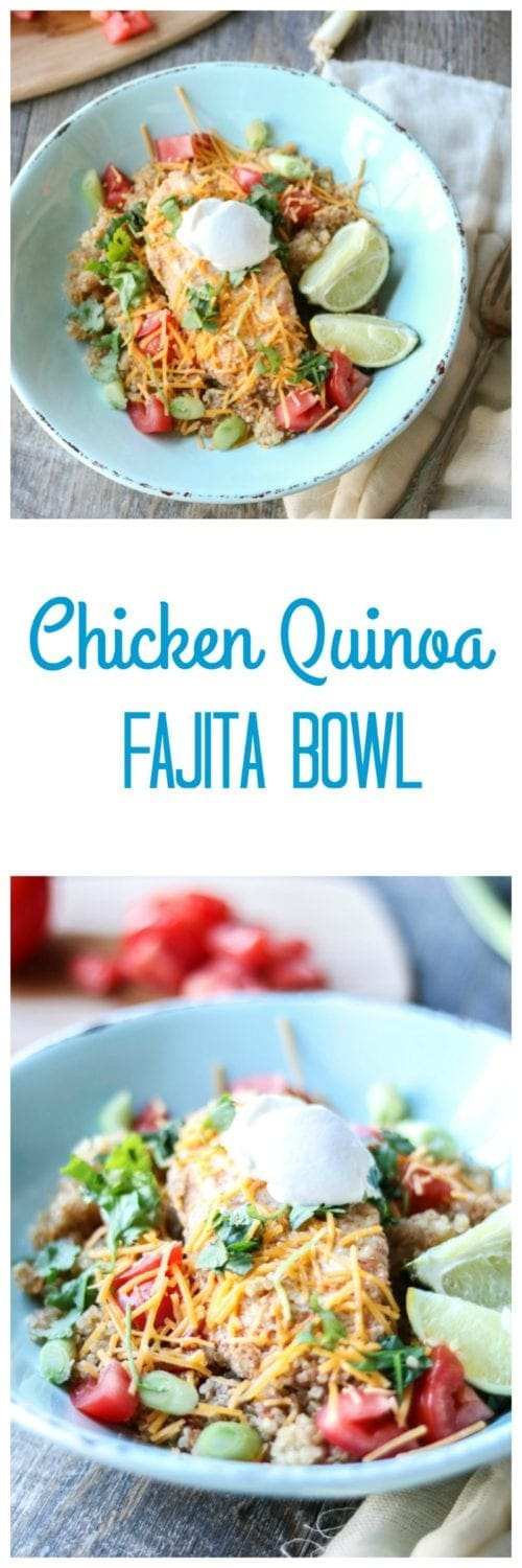 Chicken Quinoa Fajita Bowl: Kitchen staples come together to create protein and nutrient packed one pot wonder tastes just like a chicken fajita, all ready in less than 30 minutes. Gluten-Free with Dairy-Free Options as well. Instant Pot and Stove Top Directions--both ready in less than 30 minutes.