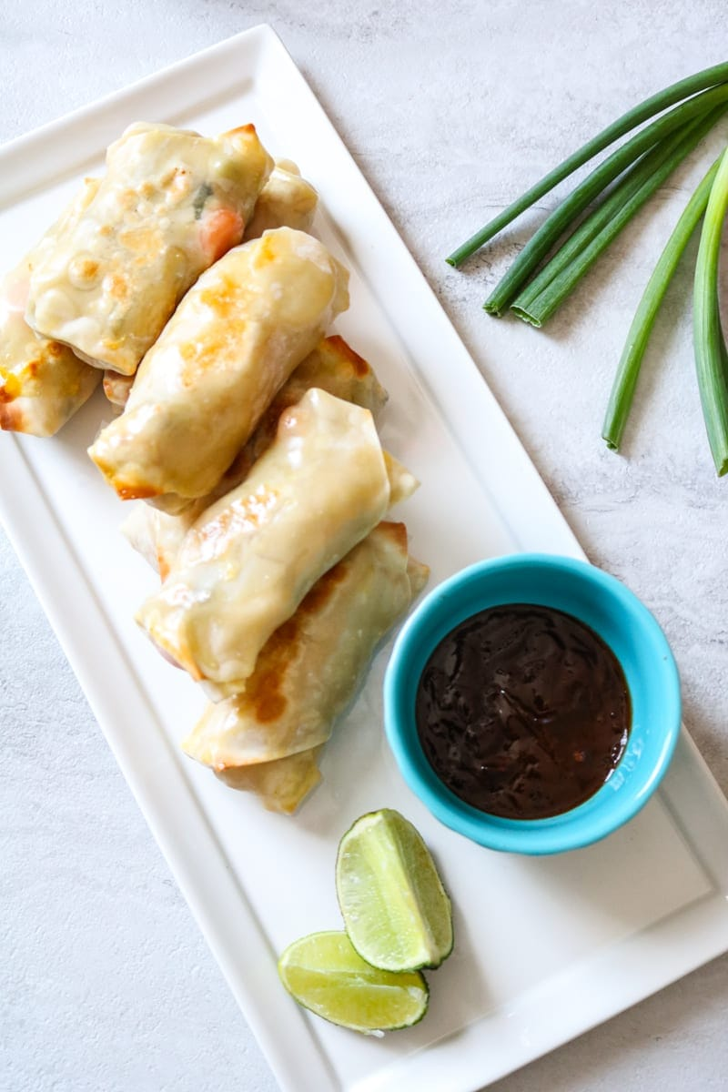 Easy Vegetarian Pad Thai Egg Rolls: A creative spin on egg rolls! A simple veggie pad thai is baked up into crisp egg roll wrappers.