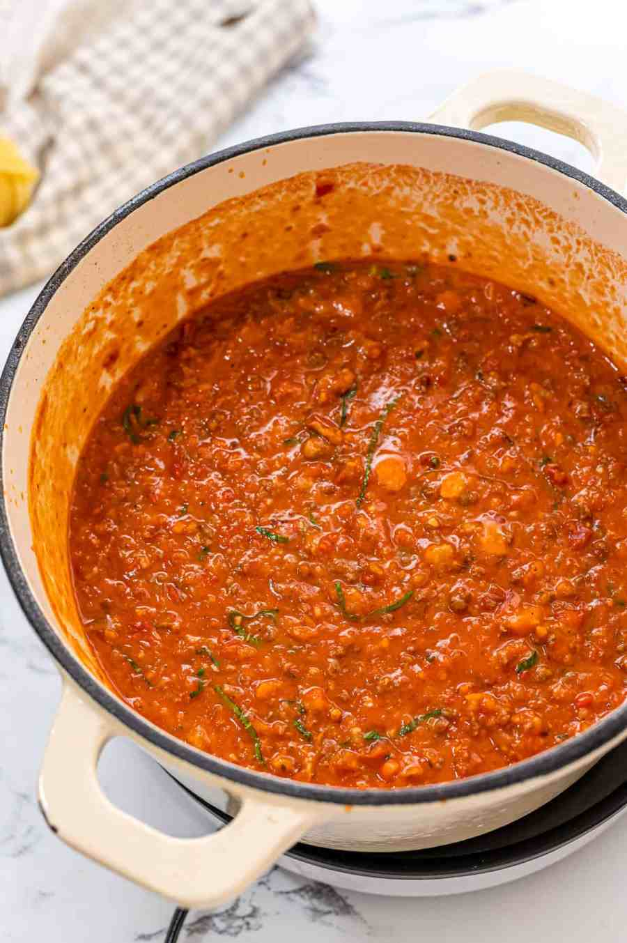 Saucepan with homemade bolognese sauce.