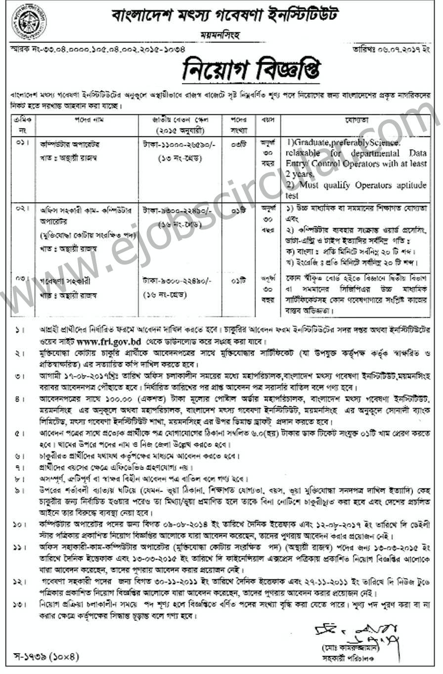 Bangladesh Fisheries Research Institute Job Circular