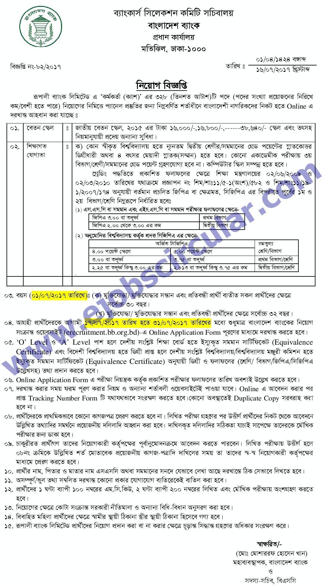 Rupali Bank Limited Job Circular Exam Notice
