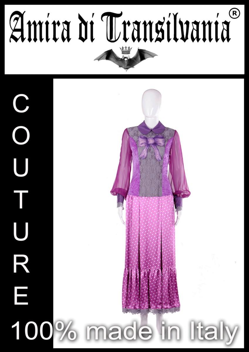 Abito couture viola con fiocco