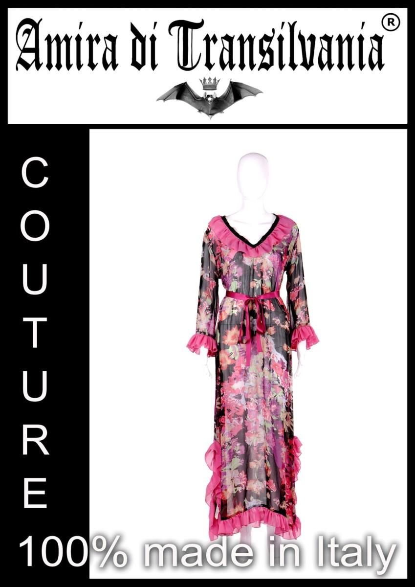 Abito couture in chiffon di seta fantasia floreale