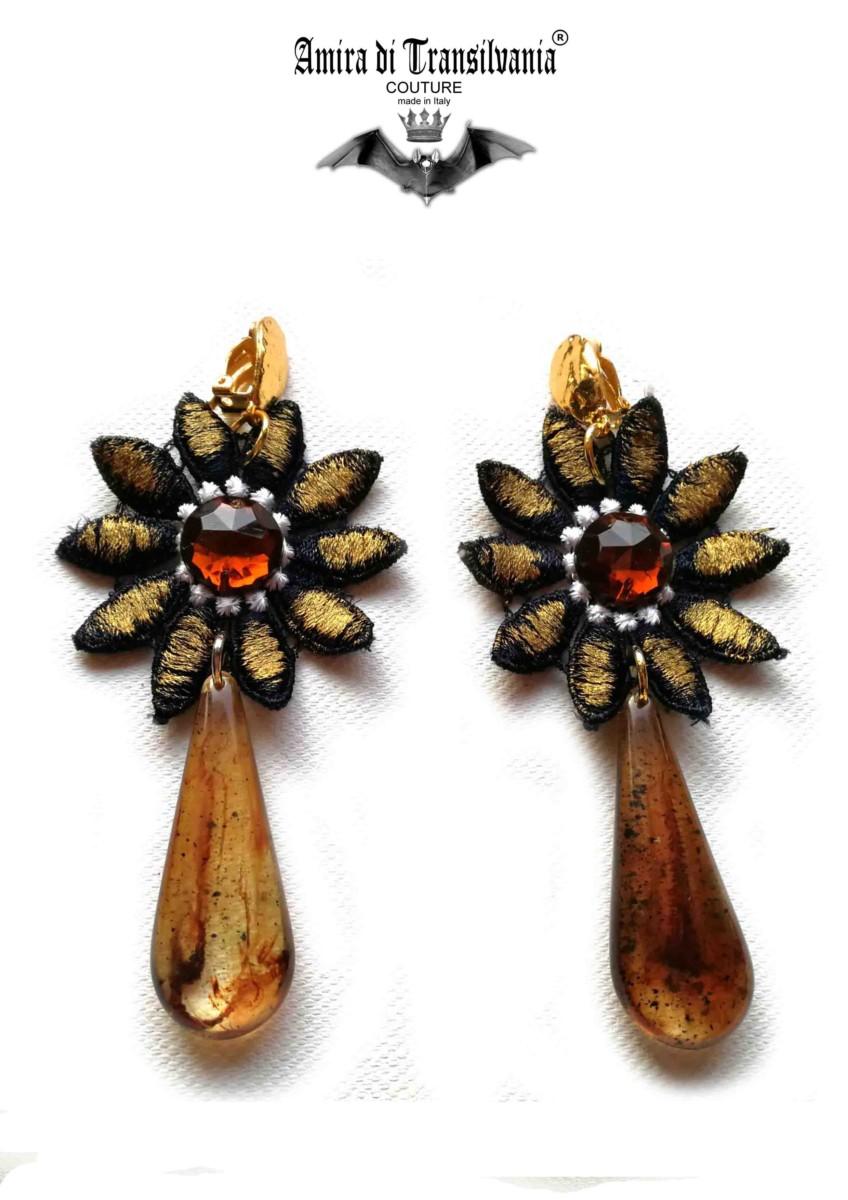 Orecchini bronzo con lacrima giada