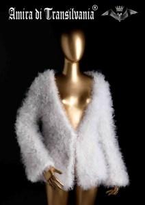 pelliccia ecologica in tulle bianco