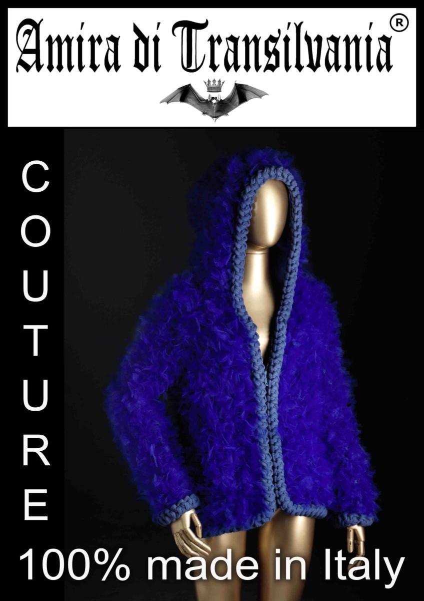 pelliccia in tulle blu