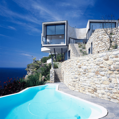 home on a cliff pool