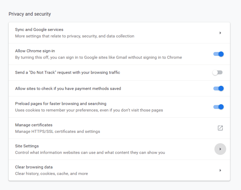 site settings google chrome