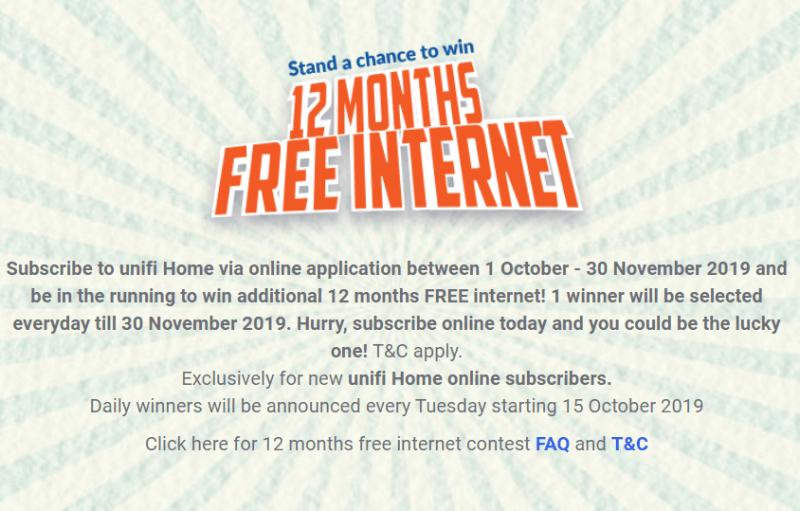 promosi percuma internet setahun unifi
