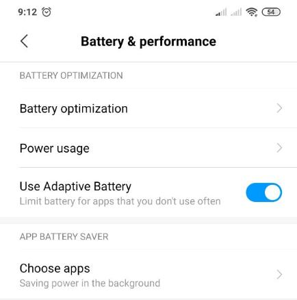 use adaptive battery setting