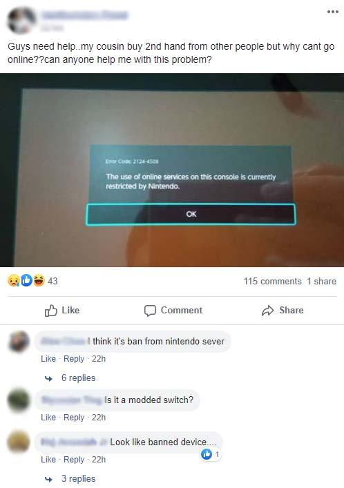 nintendo switch ban console