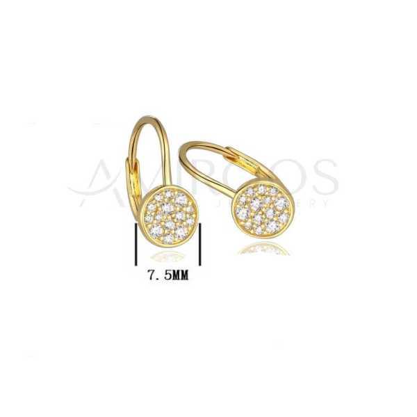 עגילים מכסף מצופים זהב צהוב