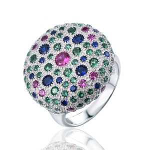טבעת כסף משובצת אבני זרקון צבעונית
