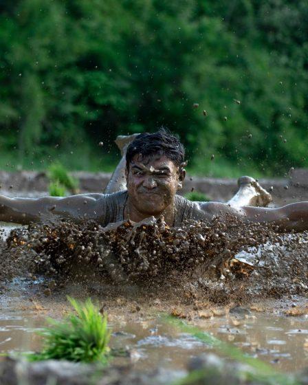 slide in mud