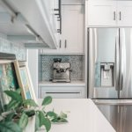 Marble Backsplash Tile White Cabinets Amish Kitchen Gallery