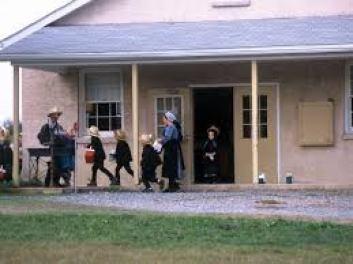 Amish school children leaving school