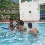 common pool (left to right)  debjyoti, virendra, gaurav & me trying to save saleem