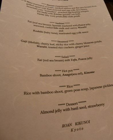 Our kaiseki menu