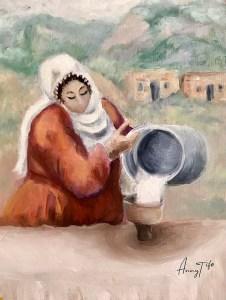 Femme kurde qui prépare le repas