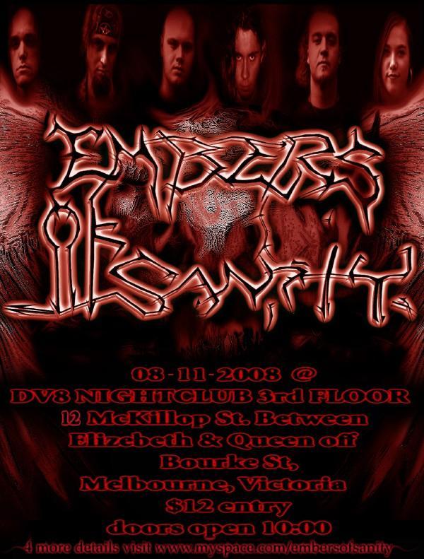 Embers of Sanity - 8th of November at DV8 Nightclub.