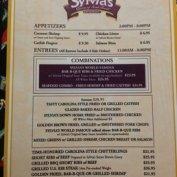 The menu at Sylvia's Restaurant