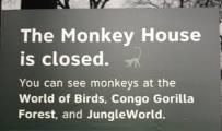 """Close-up of """"closed"""" sign outside Monkey House"""
