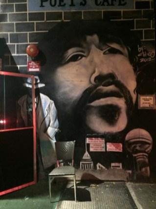Pedro Pietri's portrait outside the Cafe