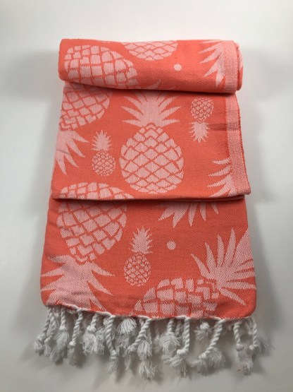 Coral Pineapple Beach Towel