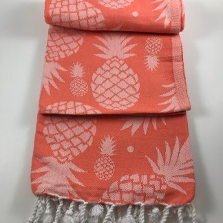 Coral Pineapple Beach Towel