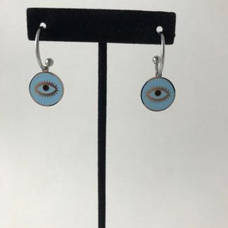 Blue Mati Hoop Earring