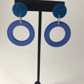 Blue Aspire Greek Key Earrings