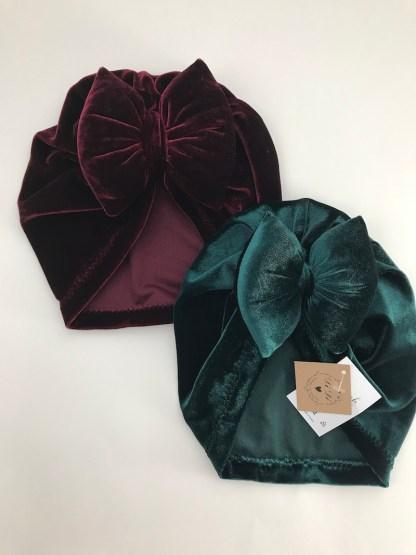 Velvet Baby Bow Hat