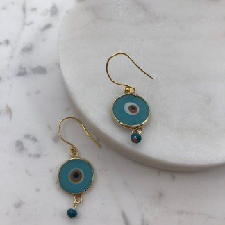 Enamel Hanging Mati Earrings