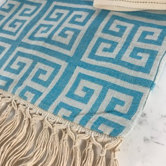 Turquoise Meandros Pouch Fringe