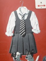 Chrissy Amphlett's famous uniform at Amphlett Lane, Melbourne.