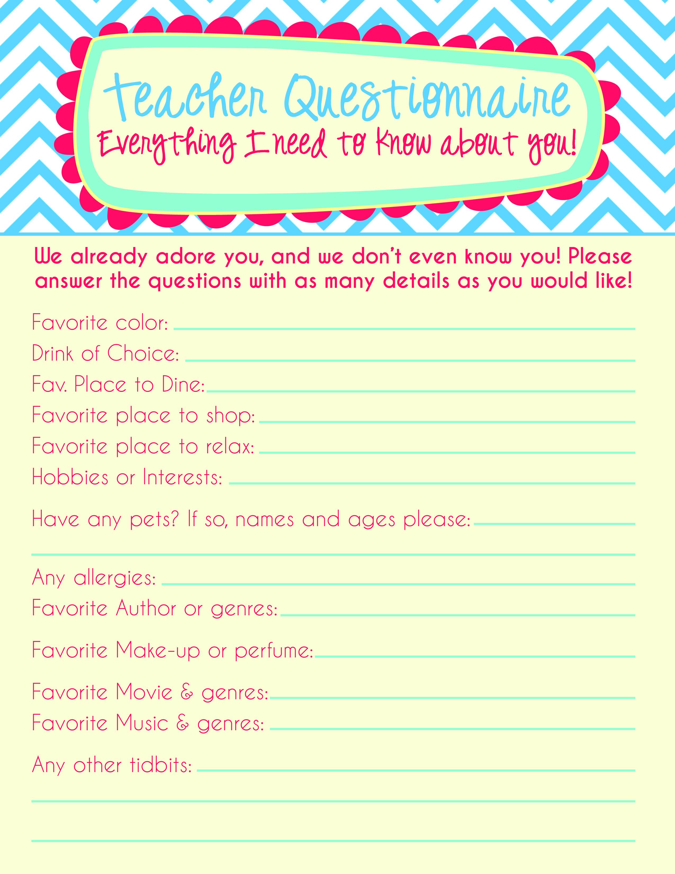 Teacher Questionnaire Palm Beach Print Shop