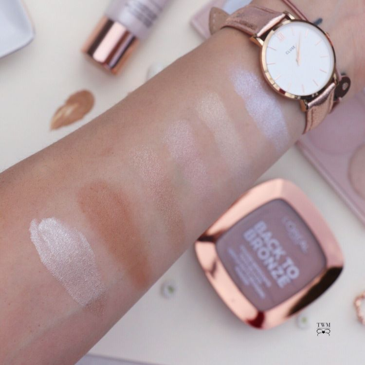 Swatches L'oreal La Vie en Glow, Back to Bronze and Highlighting Drops