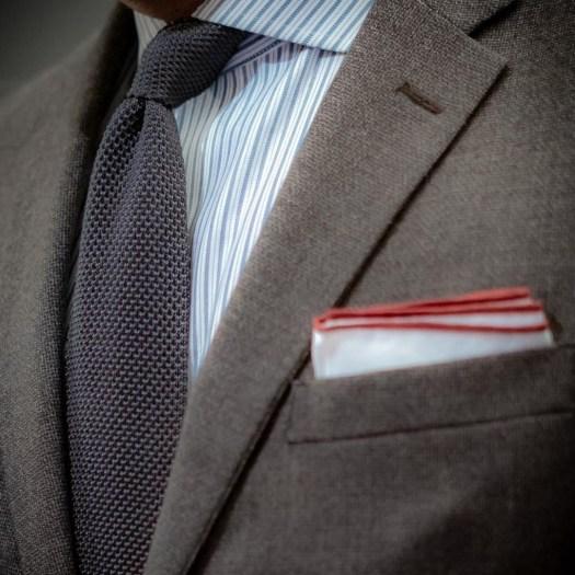 Foundation menswear silk knit tie cotton pocket square burgundy