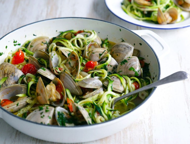Vongole, pasta, zucchini noodles, recipes, Jacqueline Alwill, The Brown Paper Bag Nutrition