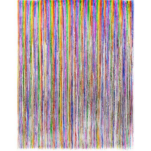 multicolor metallic fringe curtain