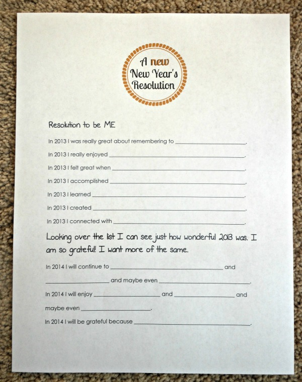 A new New Year's Resolution Printable