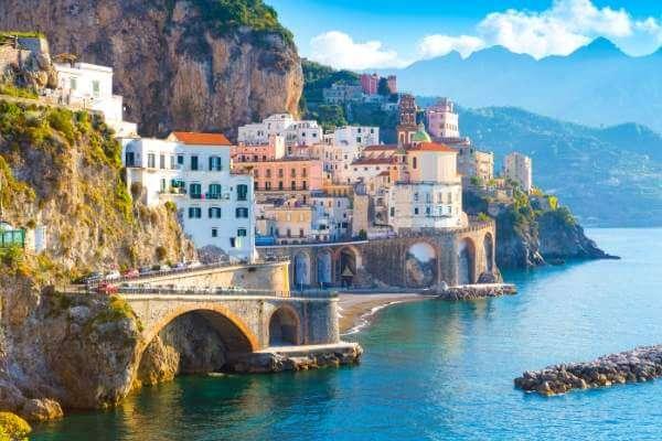 view of Atrani on Amalfi Coast