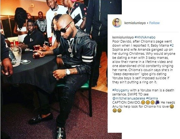 Chioma Finally Leaves Davido – Kemi Olunloyo alleges