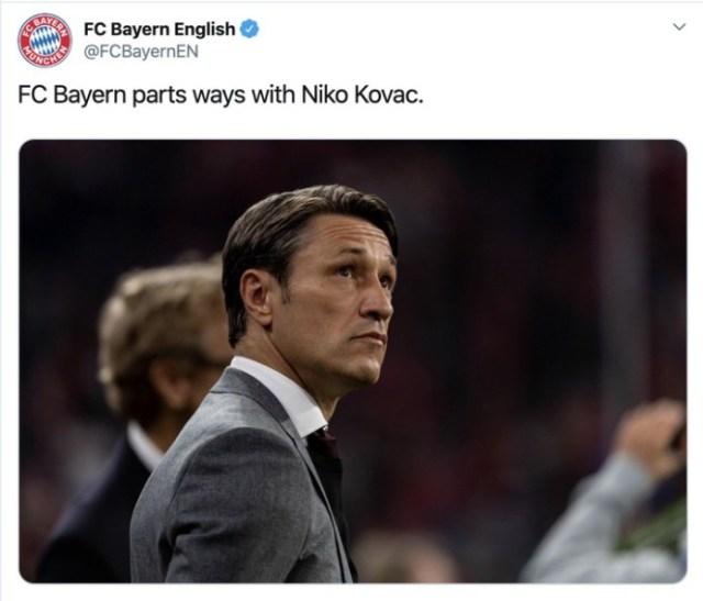 Bayern Munich Sack Niko Kovac After 5-1 Defeat