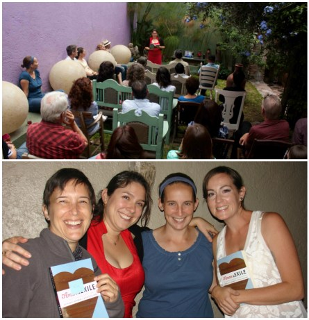 Top: Nicole at La Casa del Atrio reading, Querétaro, México; Nicole and friends of A&E at the Querétaro reading