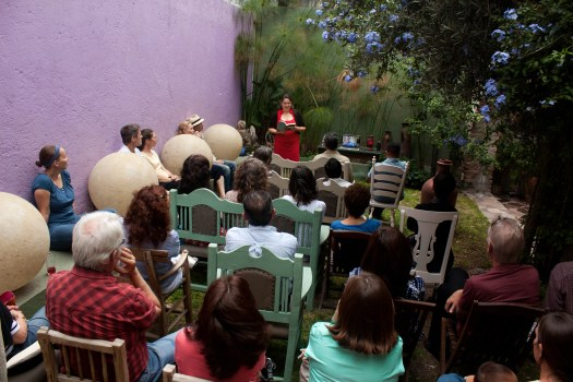 The author at her first A&E reading in Querétaro, México. Heather is against the wall at far left.