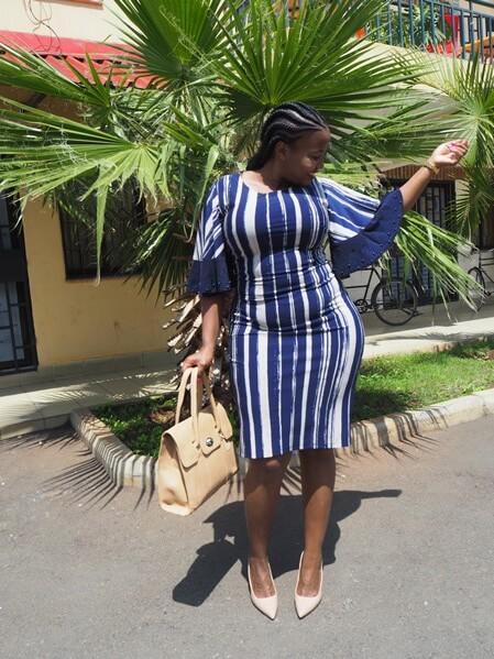 Blue striped Everrich shift dress