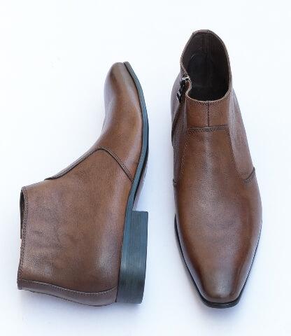 Brown side zip boot